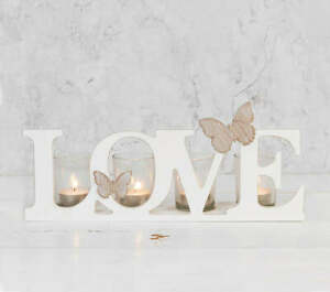 Love Wood and Glass Candle Holder, tealights included, cream white butterflies