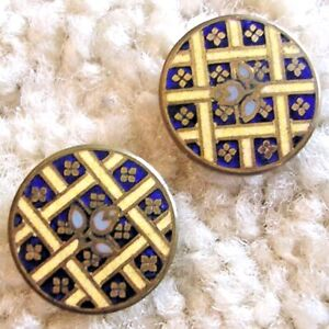 Ex Rare Antique Pair of Jugendstil enamel buttons, early 1900s/1918