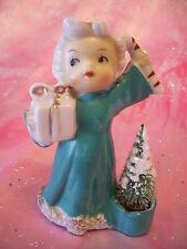 VTG Christmas Aqua Girl Angel Holds Candy Cane Bottle Brush Tree Figurine RARE