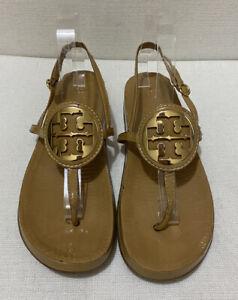 TORY BURCH Logo Embellished Leather Slingback Sandals, Sand -Sz9M / Eu 39 /AU8.5