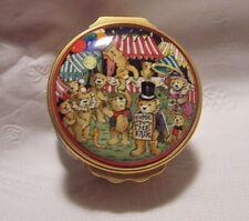 Halcyon Days Enamel Box Teddy Bears Fair Carnival Clowns fortune teller perfect