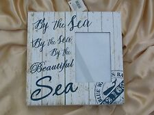 BY THE SEA  PHOTOFRAME WHITE PAINTED NAUTICAL STYLE FREE STANDING OR HANGING