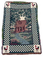 Bob Timberlake Fringed Blanket Throw Rooster Farm house Cottage Scene 48 X 68