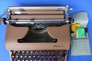 Vintage 1960 Olympia SM4 Portable Typewriter + Case Instructions Extra Ribbons