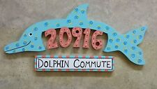Custom WOODEN DOLPHIN  HOUSE NUMBER Address Sign HAND MADE Painted Carved Wood