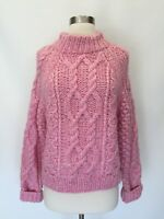 New JCREW Chunky Cable Knit Wool Pullover Sweater Pink Sz XS S
