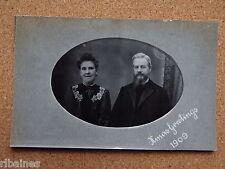 R&L Postcard: Edwardian Portrait of Man & Woman Christmas/Vicar Beard 1909