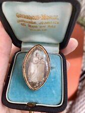 Georgian Sepia Miniature Mourning Brooch 9K Rose Gold.
