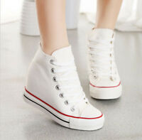 2019 Womens Hidden Wedge Canvas High-Top Lace Up Platform Sneakers Trainers Shoe