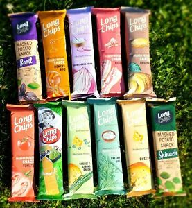 11x🚩LONG POTATO CHIPS 75g; FULL Flavor Set: Cheese, Bacon, Dill, Tomato et al.