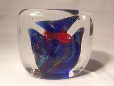 Murano Art Glass Aquarium Style Square Paperweight (ref W869)