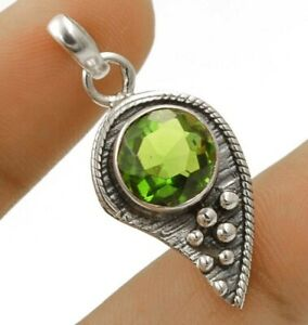 2CT Peridot 925 Solid Sterling Silver Pendant Jewelry 1 1/2'' Long NW3-4