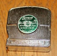 Vintage Lufkin White Clad 10 Ft. W7210 Push Button USA Tape Rule Lock Works!!