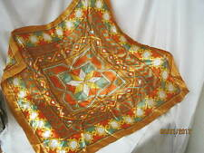 Vintage Silk blend Ladies Scarf geometric shapes copper orange green yellow