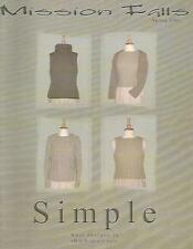Mission Falls SIMPLE Knitting Pattern Instruction Book Womens 2001 NEW