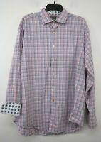 Thomas Dean Men Multicolor Plaid Long Flip Cuff Sleeve Button-Up Dress Shirt XL