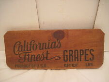 OLD WOOD-WOODEN SIGN PLAQUE CALIFORNIA FINEST GRAPES PRODUCE FRUIT SIDE PANEL
