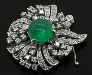 14K WG 5.50CTW VS diamond cluster/9mm cabochon emerald clasp for strand necklace