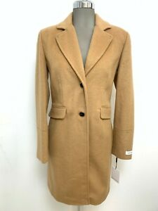 Calvin Klein NWT Modern Women's CAMEL Wool Blend Single Breasted Coat size 10