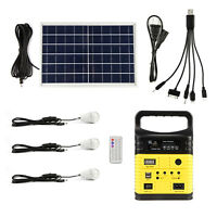 Solar Generator Lighting Home System Kit 12V 10W with Solar Panel USB Lamps