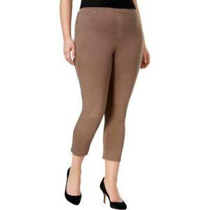 Style & Co Plus Size Comfort Waist Mid Rise Capri Leggings 3X, Brown Clay #810