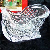 MIKASA CRYSTAL SLEIGH Vase Candy Dish Planter Bowl Holiday Christmas Decvor NIB!