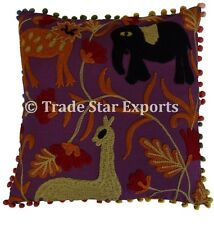 Indian Uzbek Suzani Cushion Cover Embroidered With Pom Pom Square Pillow Cover