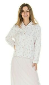 LADIES  SOFT COTTON  MOCK QUILTED LONG SLEEVED BUTTON FRONT BED JACKETS