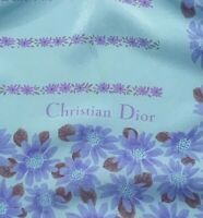 CHRISTIAN DIOR FLORAL BLUE LARGE Silk Scarf 31/29 inches