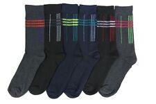 6 Pairs Men Dress Socks Formal Classic Cross Line Square Long Crew Comfort Pack
