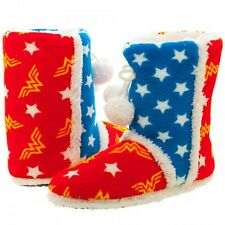 Official WONDER WOMAN Stars and Logo Boot Slippers Slip On Shoes Small Only