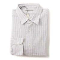 NWT $295 BOGLIOLI Slim-Fit Ivory and Blue Stripe Woven Cotton Shirt 16 x 36
