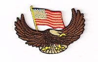 EAGLE WITH US FLAG - Embroidered patch, applique, IRON ON