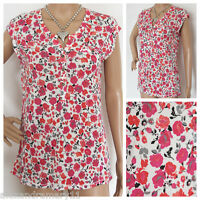 NEW EX PER UNA M&S IVORY PINK CORAL GREY FLORAL SUMMER TOP SIZE 6 - 12