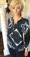 TRIBAL New M Petite Chiffon Blouse Blue Black Blouson Sleeve Tunic Top $79 NWT