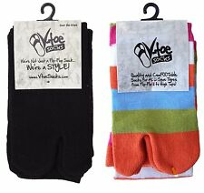 2 Pairs - Assorted V-Toe Over The Knee Striped and Solid Flip Flop Tabi Socks