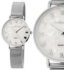 Damen Armbanduhr Perlmutt/Weiss/Silber schmales Meshband von Excellanc 180/095
