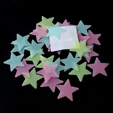 100x 3D Stars Glow In The Dark Adesivi murali in PVC fluorescente luminoso CH
