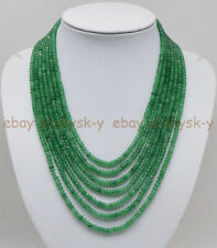 7 Rows Faceted 2x4mm Natural Green Aventurine Rondelle Beads Necklace 17-23'' AA
