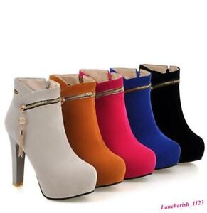 Women's Suede Ankle Boots Platform Shoes Party High Heel Oversize Round Toe Chic