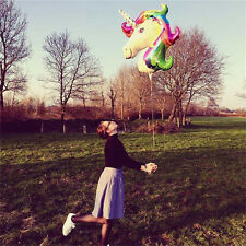 2x Unicorn Large Rainbow Foil Helium Balloon Children Birthday Party Decoration