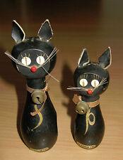 Vintage Retro Salt & Pepper Shakers Set Magnetic Black Cats Wood Wooden