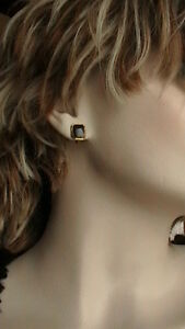 VINTAGE 10K YELLOW GOLD BLACK ONYX MOURNING EARRINGS