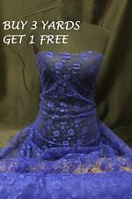 Royal Blue Budget Lace Flowers Net Stretch Crafts Dress-making Fabric Material