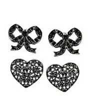 NWT Guess Black Metal-Clear Rhinetones, Filigree Hearts & Bows Earrings, 2 Pair
