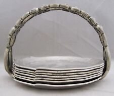 Rodney Kent Silver Co DOGWOOD/CABBAGE Vintage Hammered Aluminum COASTER SET