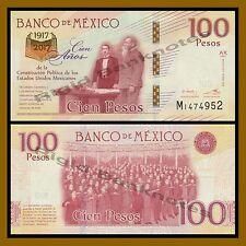 Mexico 100 Pesos, 2016/2017 P-New Sig 2 Commemorative 100 Year United Mexico Unc