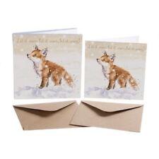 Let It Snow - Fox Cub - 8 Gold Foiled Xmas Cards & Envelopes - Wrendale Designs