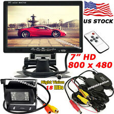 """Wireless Backup Camera + 7"""" TFT LCD Car Rear View Monitor for Bus Truck Trailer"""