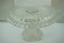 VINTAGE CAKE STAND GLASS CAMBRIDGE VIRGINIAN FOOTED PEDESTAL ROUND RUM WELL PIE
